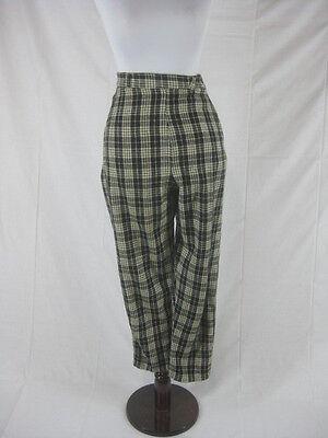 Vtg 40s 50s Black Plaid Womens Vintage Capri Cigarette Pants W 25