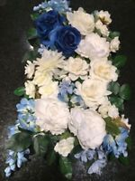 Blue/Ivory Silk Flowers Set and Drapery! $150 or BEST OFFER