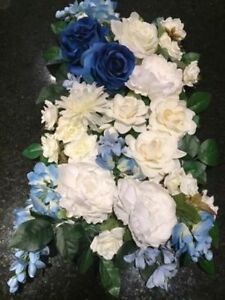 Silk flower arrangement kijiji in calgary buy sell save with blueivory silk flowers set and drapery 120 or best offer mightylinksfo
