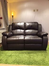 2 Seater Real Leather Recliner Sofa