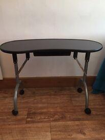BLACK FOLDABLE PORTABLE MOBILE MANICURE NAIL ART TABLE TECHNICIAN DESK STATION