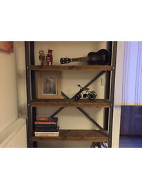 Solid industrial style bookcase- ANY SIZE