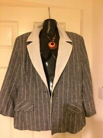 Grey & white pinstriped jacket
