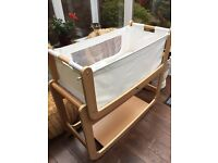 Snuzpod natural bedside crib with mattress