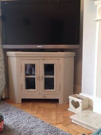 Solid oak painted tv cabinet