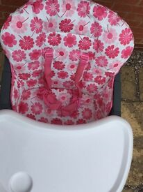 Mothercare high chair (pink and flowery)