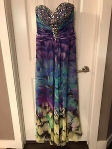 Size 10 Tony Bowls Multicoloured Strapless Prom Dress