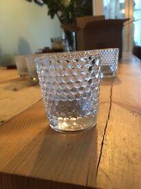 Glass tea light candle holders wedding centrepiece