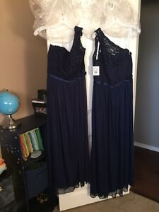 Navy bridesmaid dresses (2) $250.00