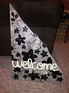 Flag stone decorative Welcome sign