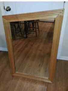 miroir antique 50ans  en bois travailer