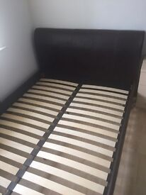 King size leather bed brown