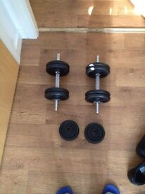 15kg each dumb bell folding bench and one strait bar