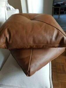 Pair of Brown Leather Throw Cushions from King Living