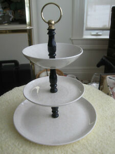 OLD VINTAGE 10-INCH ROUND TRIPLE-DECKER FANCY FOOD SERVER