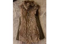 Natural Silver FOX Fur Vest with real leather on the sides and pockets;Size M