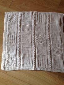 Hand knitted baby blanket boy or girl white