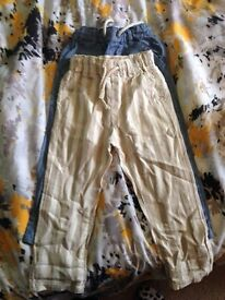 Two pairs of boys linen trousers