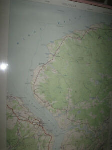 EXTRA LARGE FRAMED MAP OF WOLFVILLE NS..[ AERIAL VIEW]