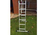 Young man multipurpose ladders