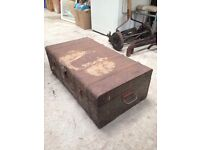 Antique / vintage industrial metal box/ chest/ trunk/ home storage/ coffee table
