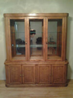 Oak and China display cabinet