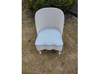 Lovely Lloyd loom style chair sprayed in cream and reupholstered in blue and cream gingham £75