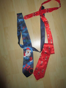 2 Ties with red Santa Nose and music
