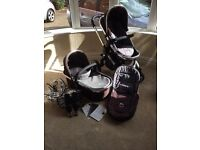 Icandy peach in black jack with carry cot and stroller.
