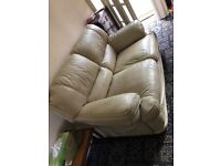 Cream leather 2 seater couch and reclining chair