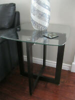 2 x Glass/Wood Side Tables (Leon's)