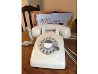 Brand NEW with Box! 1970s Retro Telephone - Rotary Dial with bell ringer in cream / white - £30 ONO