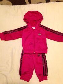 Girls 0-3 mth pink adidas tracksuit