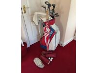 Golf clubs , bag and brolley