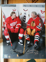 16 x 20 Bobby Hull & Brett Hull Dual Signed Locker Room Photo