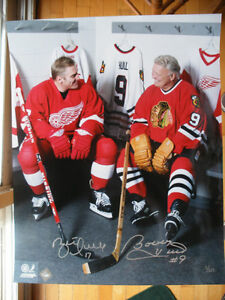 16 x 20 Bobby Hull & Brett Hull Dual Signed Locker Room Photo