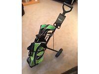 Jaxx junior golf set 8-10 year old, cart, electronic putter return and golf balls.