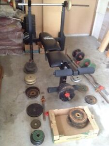 tons of weights & workout bench