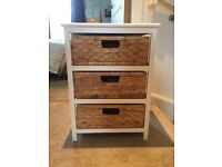 Small chest of drawers - white wood and wicker