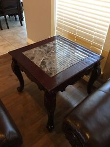 Three-piece real marble coffee table set