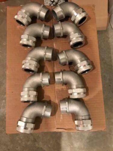 "Remke RSR-9520  1 1/2"" NPT  90 degree Machined Aluminum Strain Relief Cord Grip"