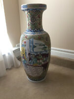 Oriental style tall ceramic vase for sale