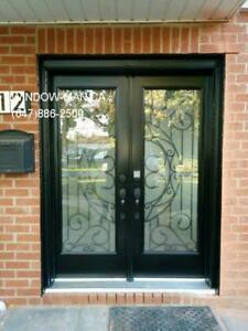 Glass Front Iron Entry Door Entrance  Installed