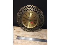 London clock company vintage brass effect wall click kitsch decorative ornate