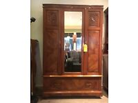 Beautiful Vintage Solid Walnut Mirrored Wardrobe - UK Delivery