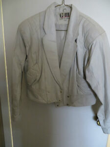 Short White Leather Jacket - (reduced)