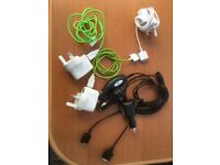 iPhone 4 leads x3 mains x3 car chargers