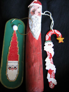 HAND CRAFTED SANTA ON A STICK TREE ORNAMENTS