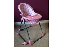 Doll Highchair (3 in 1) and Twin Doll Pram