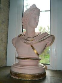 Bust of Apollo with gold leaf paint